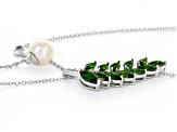 Cultured Freshwater, Chrome Diopside & Zircon Rhodium Over Silver 21 Inch Adjustable Necklace