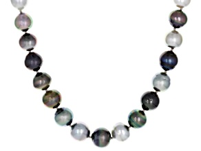 8-11mm Multicolor Cultured Tahitan Pearl, Rhodium Over Sterling Silver 18 Inch Strand Necklace