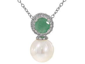 9.5-10mm Cultured Freshwater Pearl, Sakota Emerald & Zircon Rhodium Over Silver Pendant With Chain