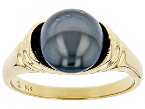 9mm Cultured Gambier Tahitian Pearl, 14k Yellow Gold Ring