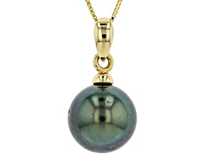 9mm Cultured Gambier Tahitian Pearl, 14k Yellow Gold Pendant With Chain