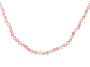 4mm Pink Conch Shell Bead, Rhodium Over Sterling Silver 24 Inch Necklace