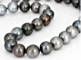 11mm Multi-Color Cultured Tahitian Pearl Rhodium Over Sterling Silver 18 Inch Strand Necklace