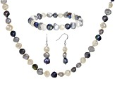 7.5-8mm Multi-Color Cultured Freshwater Pearl Rhodium Over Silver Necklace, Bracelet & Earrings Set