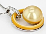 10mm Golden Cultured South Sea Pearl & Mother-Of-Pearl Rhodium Over Sterling Silver Pendant & Chain
