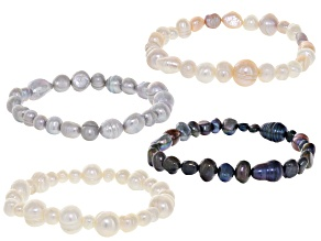 6-10mm Multi-Color Cultured Freshwater Pearl Stretch Bracelet set of 4