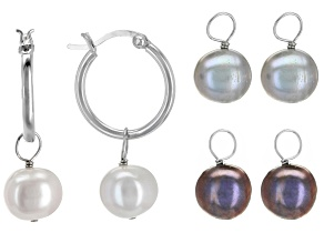 9.5-10mm Multi-Color Cultured Freshwater Pearl Rhodium Over Silver Interchangeable Earrings Set