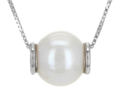 9.5-10mm Multi-Color Cultured Freshwater Pearl Rhodium Over Silver Interchangeable Pendant/Chain Set