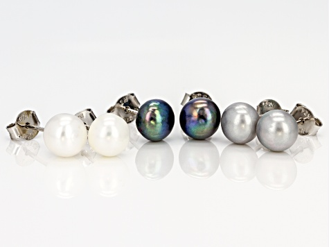 7.5-8mm Multi-Color Cultured Freshwater Pearl Rhodium Over Silver Stud Earrings Set Of 3