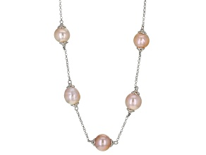 Genusis(TM) 11-12.5mm Pink Cultured Freshwater Pearl Rhodium Over Sterling Silver 20 Inch Necklace