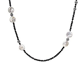 15-16mm Cultured Freshwater Pearl, Bella Luce(TM) & Hematine Rhodium Over Silver 36 Inch Necklace