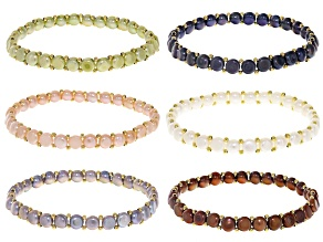 5.5mm Multi-Color Cultured Freshwater Pearl 18k Yellow Gold Over Bronze Stretch Bracelet Set of 6