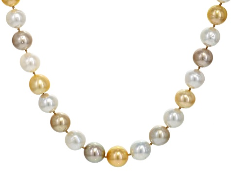 10-13mm Multi-Color Cultured South Sea Pearl 14k Yellow Gold 18 Inch Strand Necklace