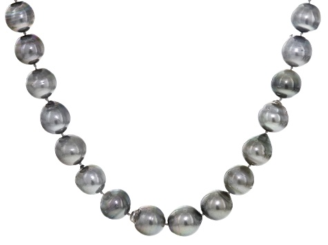 12-15mm Gray Cultured Tahitian Pearl, Rhodium Over Sterling Silver 18 Inch Strand Necklace