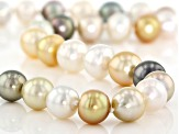 8-11mm Multi-Color Cultured South Sea Pearl, 14k Yellow Gold 18 Inch Strand Necklace