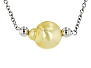 9.5-10mm Golden Cultured South Sea Pearl Rhodium  Over Silver Sliding Adjustable Necklace