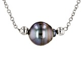 9.5-10mm Cultured Tahitian Pearl Rhodium Over Sterling Silver Sliding Adjustable Necklace