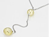9-9.5mm Golden Cultured South Sea Pearl Rhodium Over Silver 18 Inch Necklace With 2 Inch Extender