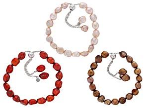 7-8MM Multi-Color Cultured Freshwater Pearl Rhodium Over Silver Sliding Adjustable Bracelet Set Of 3