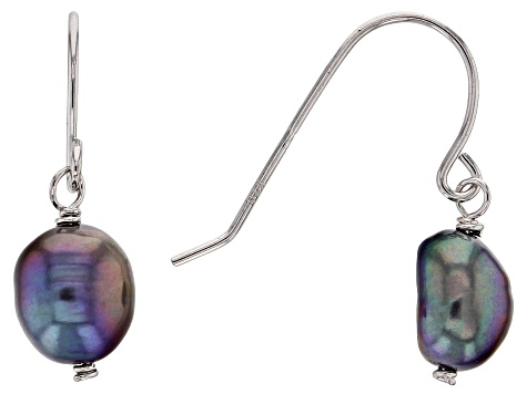 7-8mm Multi-Color Cultured Freshwater Pearl Rhodium Over Silver Earrings Set Of 3