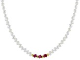 3-5mm Cultured Freshwater Pearl & Ruby 18k Yellow Gold Over Silver 60 Inch Endless Strand Necklace