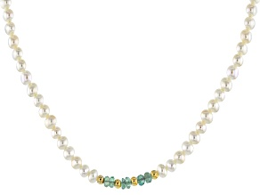 Cultured Freshwater Pearl & Emerald 18k Yellow Gold Over Silver 60 Inch Endless Strand Bead Necklace