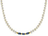 Cultured Freshwater Pearl & Sapphire 18k Yellow Gold Over Silver 60 Inch Endless Strand Necklace