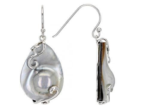 23x18mm Silver Cultured Mabe Pearl Rhodium Over Sterling Silver Earrings