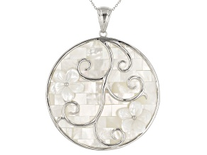 White Mother-Of-Pearl Rhodium Over Sterling Silver Pendant With 24 Inch Chain