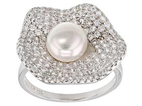 7-8mm Cultured Freshwater Pearl & Bella Luce(TM) Diamond Simulant Rhodium Over Silver Ring