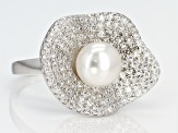 7-8mm Cultured Freshwater Pearl & Bella Luce(TM) Diamond Simulant Rhodium Over Silver Ring