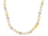 6-6.5mm Multi-Color Cultured Japanese Akoya Pearl 14k Yellow Gold 18 Inch Strand Necklace
