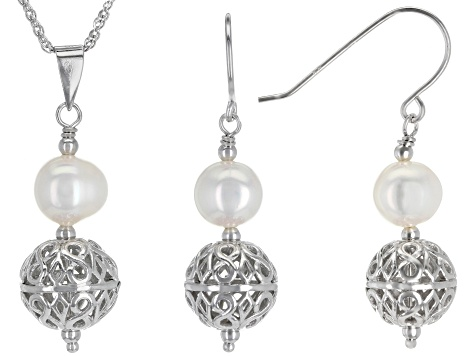 6-7mm Cultured Freshwater Pearl Rhodium Over Silver Filigree Earrings & Pendant With Chain Set