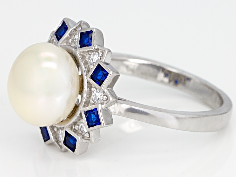9-10mm Cultured Freshwater Pearl & Bella Luce(TM) Diamond Simulant Rhodium Over Silver Ring