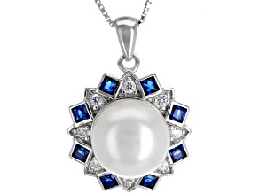 9-10mm Cultured Freshwater Pearl & Bella Luce(TM) Rhodium Over Silver Pendant With Chain