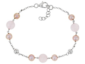 6-7mm Cultured Freshwater Pearl & Rose Quartz Rhodium Over Silver 7.5 Inch Bracelet With Extende