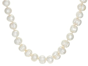 9-10mm White Cultured Freshwater Pearl Rhodium Over Sterling Silver 18 Inch Strand Necklace