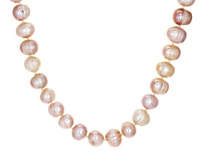 9-10mm Lavender Cultured Freshwater Pearl, Rhodium Over Sterling Silver 18 Inch Strand Necklace