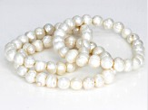 9-10mm White Cultured Freshwater Pearl Stretch Bracelet Set Of 3