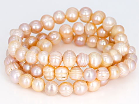9-10mm Peach Cultured Freshwater Pearl, Stretch Bracelet Set of 3
