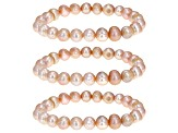9-10mm Lavender Cultured Freshwater Pearl Stretch Bracelet Set Of 3