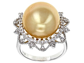 14mm Golden South Sea Pearl & White Topaz Rhodium Over Sterling Silver Ring