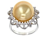 14mm Golden Cultured South Sea Pearl & White Topaz Rhodium Over Sterling Silver Ring