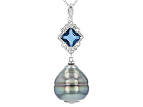 14mm Cultured Tahitian Pearl & Blue and White Topaz Rhodium Over Silver Pendant With Chain