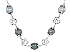 12mm Cultured Tahitian Pearl Rhodium Over Sterling  Silver 24 Inch Necklace