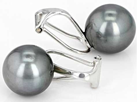 11mm Cultured Tahitian Pearl Rhodium Over Sterling Silver Clip On Earrings