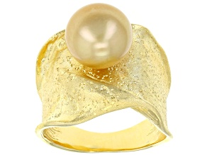 10mm Golden Cultured South Sea Pearl 18k Yellow Gold Over Sterling Silver Ring