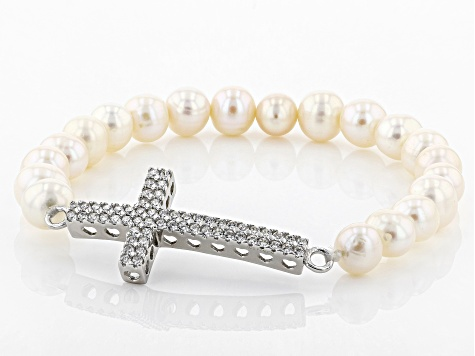 7-8mm White Cultured Freshwater Pearl & Bella Luce(TM) Rhodium Over Silver Cross Stretch Bracelet