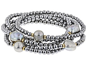 9mm Cultured Freshwater Pearl & Hematine Gold Tone Over Silver Bead Stretch Bracelet Set Of 5
