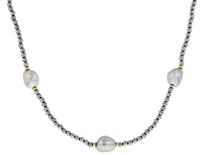 9mm Silver Cultured Freshwater Pearl & Hematine Gold Tone Over Silver 36